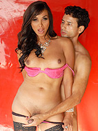 Oiled up. Irresistible tranny Vaniity having fun with a guy