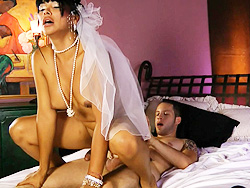 Vaniity bride. Amazing bride Vaniity riding a huge rock cruel cock